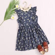 Toddler Girls Ditsy Floral Print Ruffle Trim Denim Dress