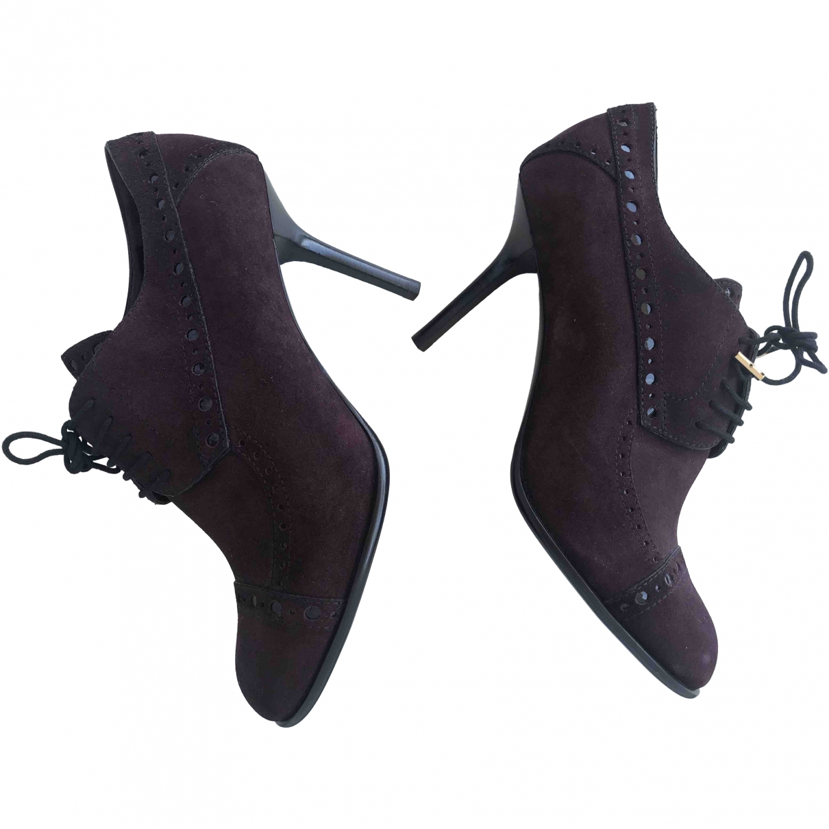Louis Vuitton \N Burgundy Suede Ankle boots for Women 38 EU
