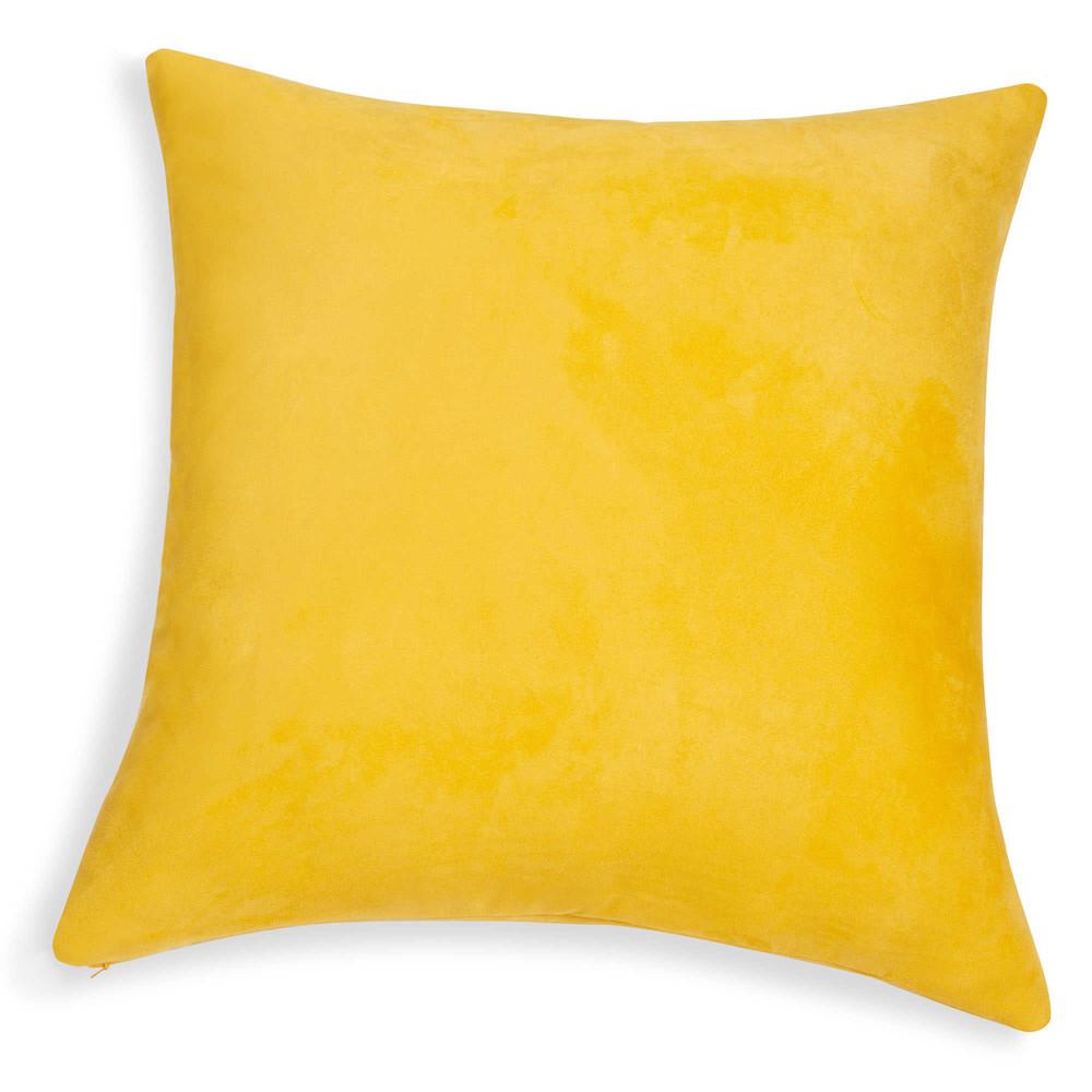 Kissen aus gelbem Wildlederimitat 60x60