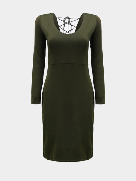 Yoins Back Lace-up Midi Dress in Green