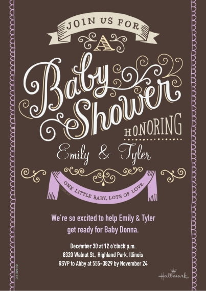 Baby Shower Invitations Flat Glossy Photo Paper Cards with Envelopes, 5x7, Card & Stationery -Curly Lettering - Lavender