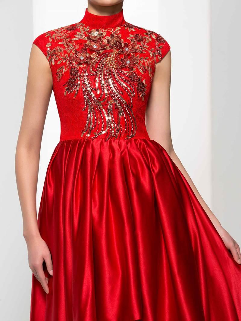 Ericdress High Neck Cap Sleeves Appliques Beading Asymmetry Prom Dress