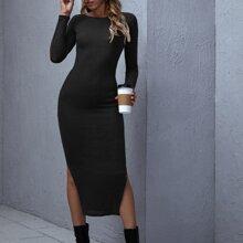 Split Side Rib-knit Dress