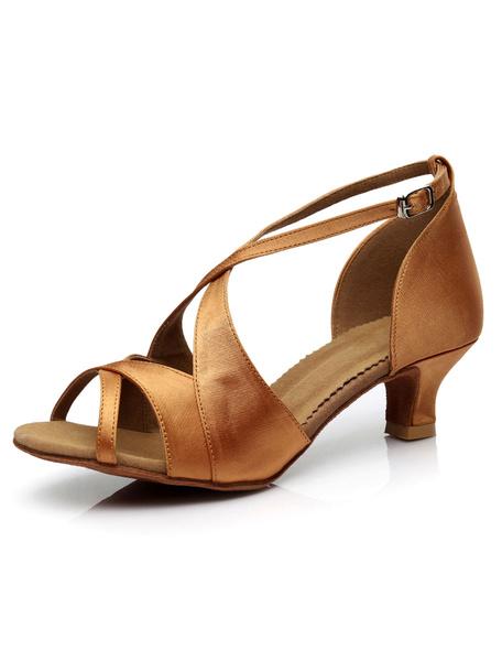 Milanoo Latin Dance Sandals Black Peep Toe Criss Cross Salsa Dance Shoes Satin Ballroom Shoes For Women