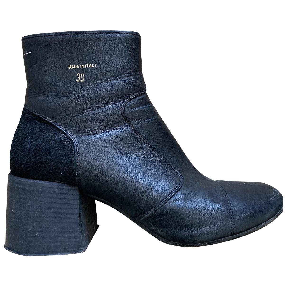 Mm6 \N Stiefel in  Schwarz Leder