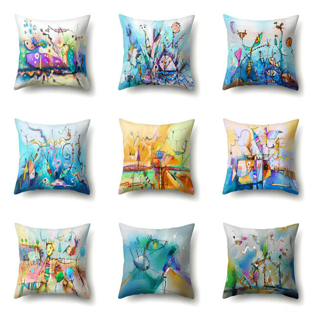 Creative Abstract Fish Ocean Painting Microfiber Cushion Cover Home Sofa Office Car Seat Art Decor