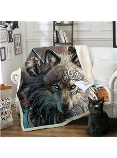 3D Wolf Thick Blanket Flannel Blankets Air Conditioning Microfiber Fleece Blankets