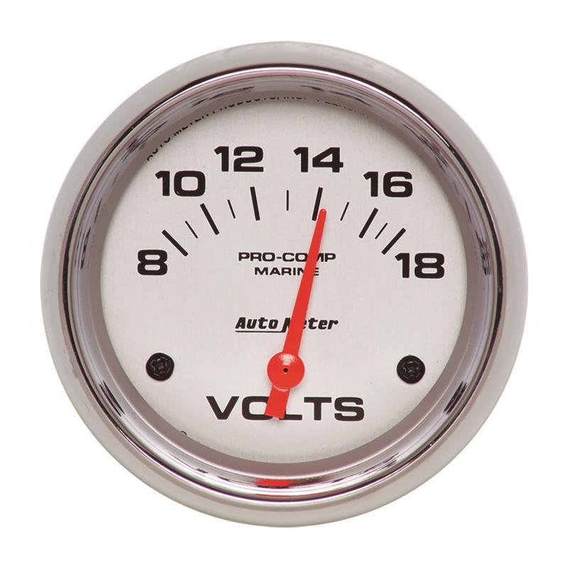 AutoMeter GAUGE; VOLTMETER; 2 5/8in.; 18V; ELECTRIC; MARINE CHROME