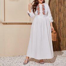 Plus Lantern Sleeve Floral Print Dress