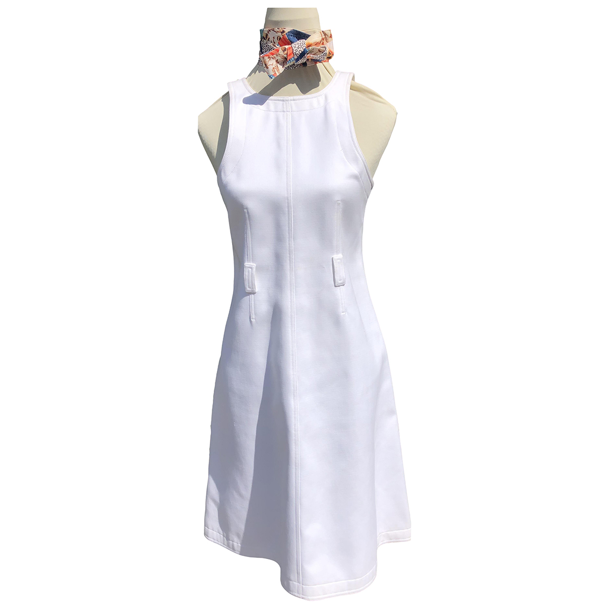 Courreges \N Kleid in  Weiss Baumwolle