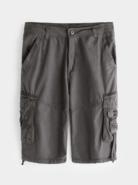 Yoins Gray Side Pockets Camouflage Button & Zipp Wait Men's Cargo Shorts