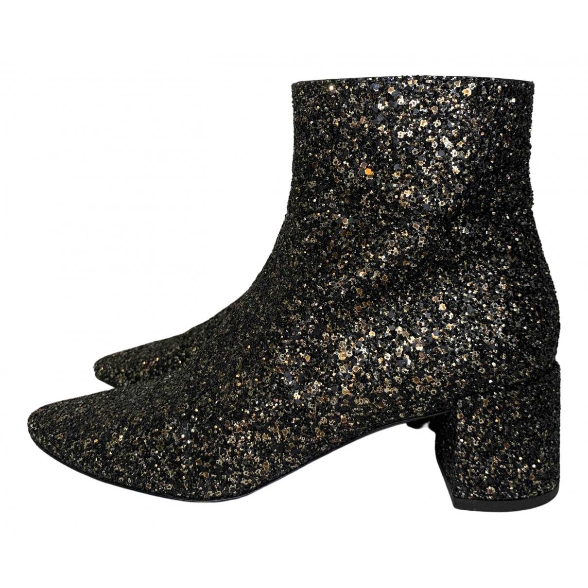 Saint Laurent Loulou Black Glitter Ankle boots for Women 36 EU