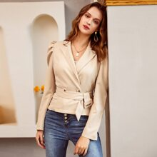 Double Button Buckle Belted Gigot Sleeve Blazer