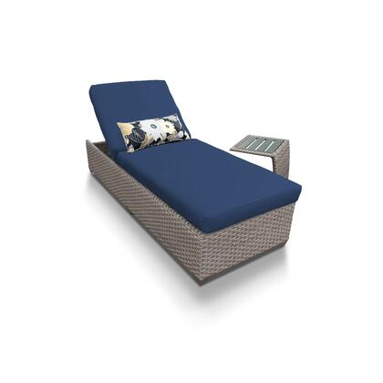 OASIS-1x-ST-NAVY Oasis Chaise Outdoor Wicker Patio Furniture With Side Table with 2 Covers: Grey and