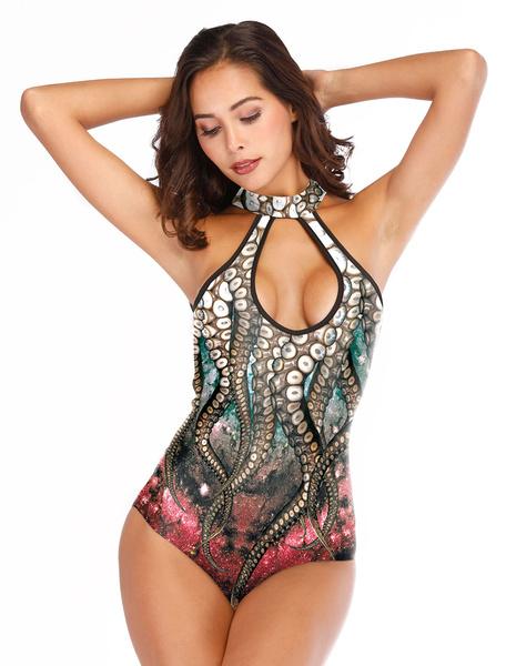 Milanoo Woman One Piece Swimwear Keyhole Polyester Beach Wear Mermaid Jumpsuit Halloween