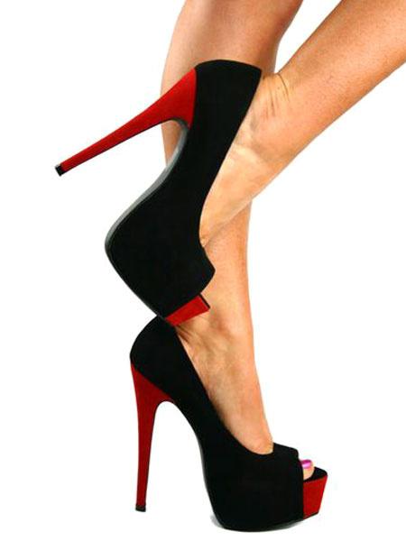Milanoo Zapatos Peep toe Cuero con apariencia suave estilo modernode dos tonos de tacon de stiletto para mujer