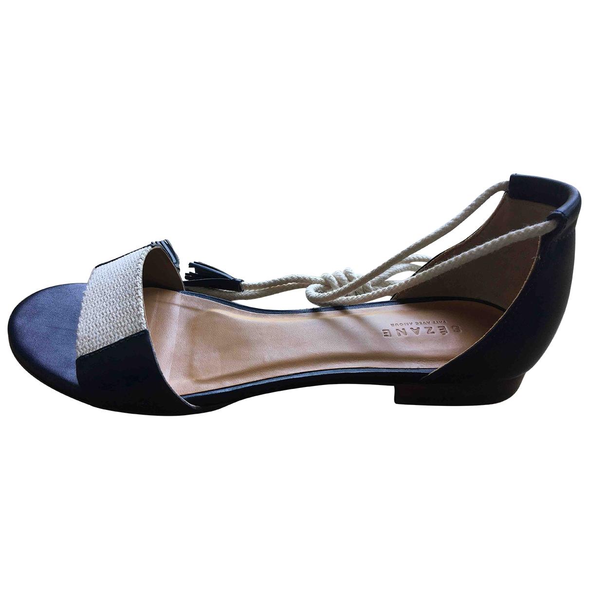 Sezane - Sandales   pour femme en cuir - bleu