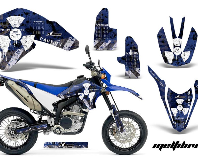 AMR Racing Dirt Bike Decal Graphics Kit Wrap For Yamaha WR250R WR250X 2007-2016áMELTDOWN WHITE BLUE