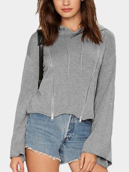 Yoins Grey Zip Design  Pullover Flared Sleeves Crop Hoodie