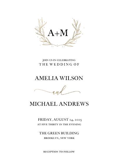 Wedding Invitations 5x7 Cards, Premium Cardstock 120lb with Elegant Corners, Card & Stationery -Wedding Invitation Gold Wreath Monogram by Tumbalina