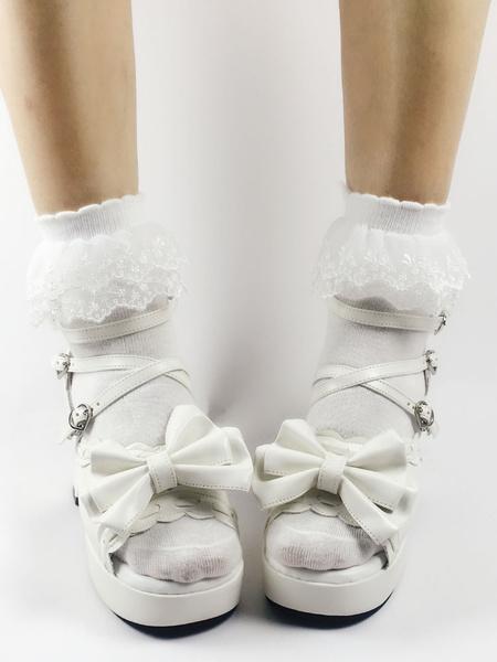 Milanoo Sweet Lolita Sandalias Abierto Toe Puppy Heel Arcos PU Blanco Lolita Zapatos