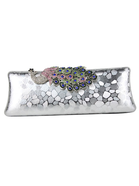 Milanoo Evening Clutch Bags Rhinestones Animal Print Faux Leather Snap Closure Chic Special Occasion Handbags