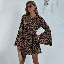 Leopard Print Split Bell Sleeve Belted Dress