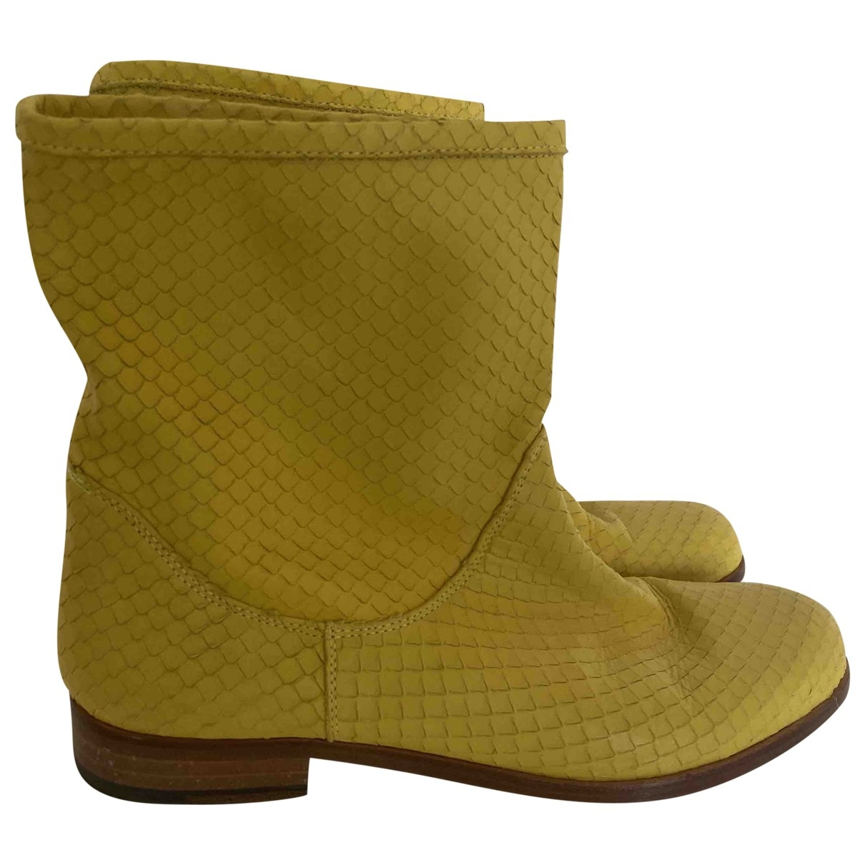 Pollini \N Yellow Leather Boots for Women 38.5 EU