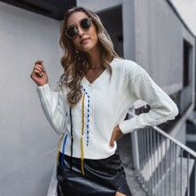 Cable Knit Colorful Fringe Sweater