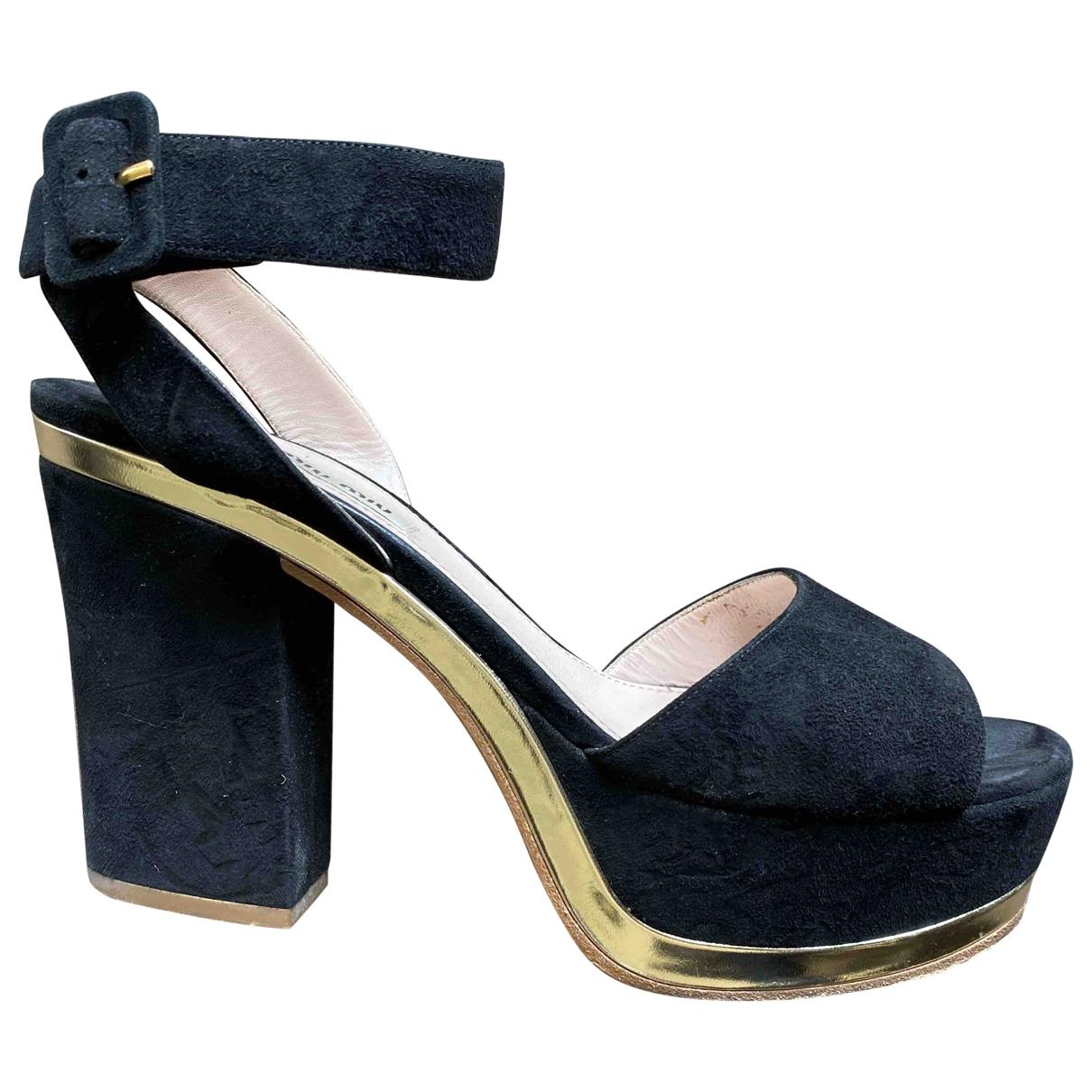 Miu Miu - Sandales   pour femme en suede - noir