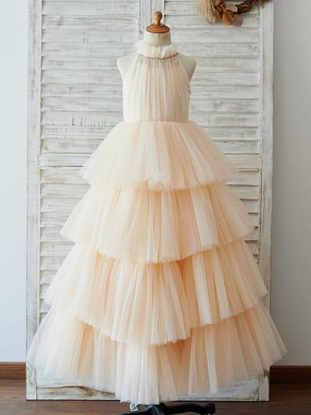 Milanoo Flower Girl Dresses Champagne High Collar Sleeveless Beaded Kids Party Dresses