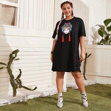 Grosse Grossen - T-Shirt Kleid mit Pekingoper Muster und Fransen Detail