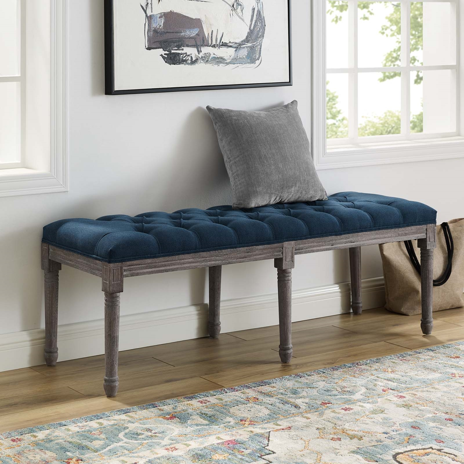Province French Vintage Upholstered Fabric Bench in Navy