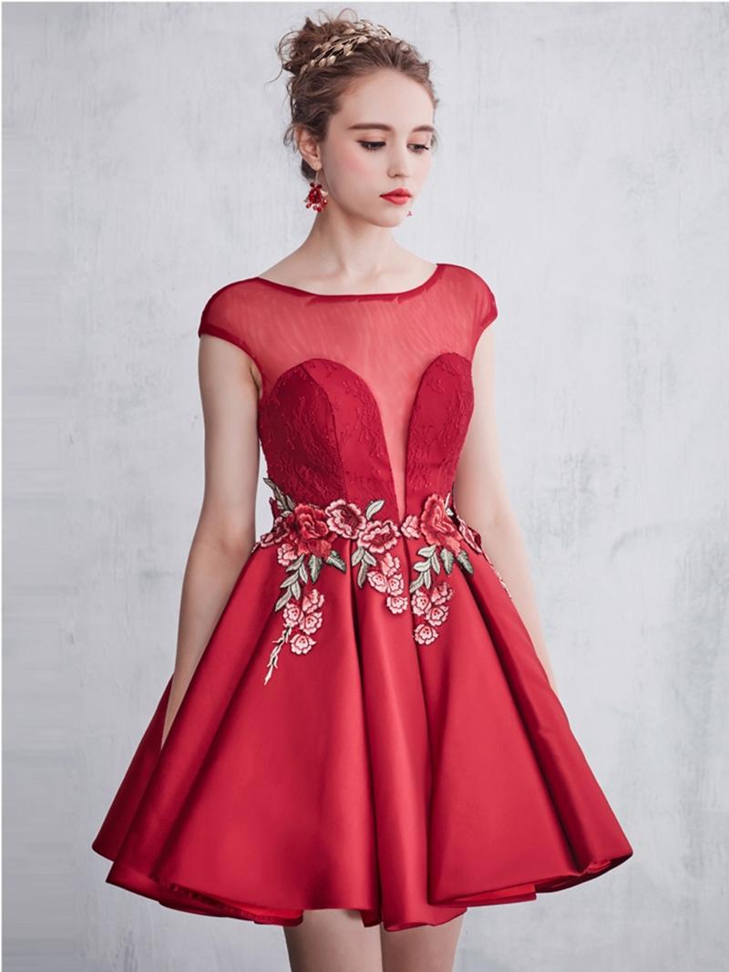 Ericdress A-Line Bateau Embroidery Lace Short Cocktail Dress