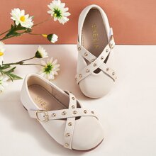 Toddler Girls Studded Decor Cross Strap Flats