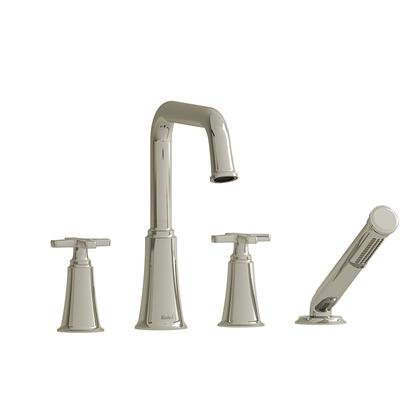 Momenti MMSQ12XPN 4-Piece Deck Mount Tub Filler with x Cross Handles and Hand Shower  in Polished
