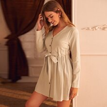 Button Up Belted Knot A-line Dress