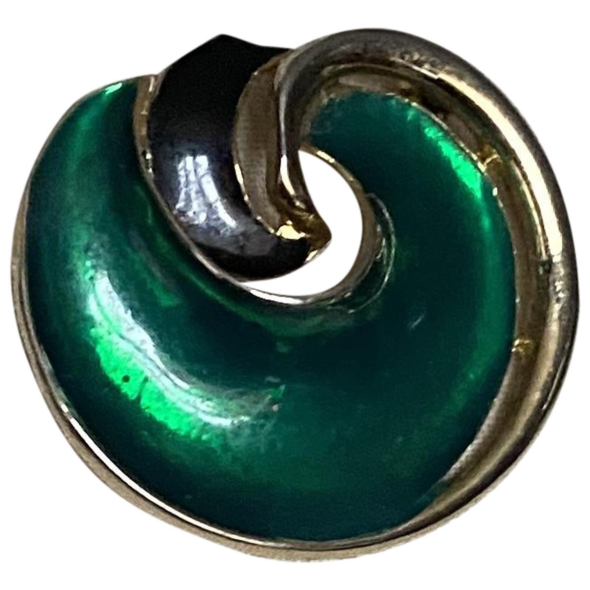 - Broche Art Deco pour femme en plaque or - vert