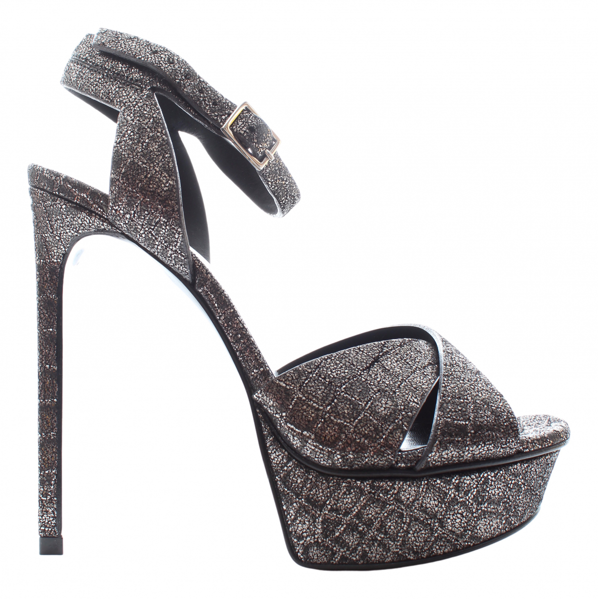 Saint Laurent Bianca Sandalen in  Metallic Leder