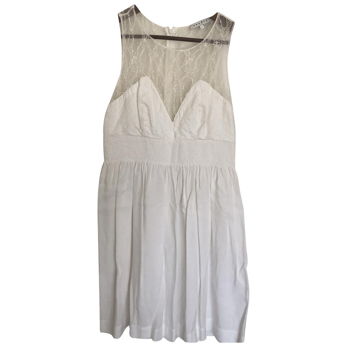 Sandro - Robe   pour femme en coton - blanc