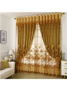 Golden Burnout and Embroidered Floral Rural Style Pattern Blackout Curtains