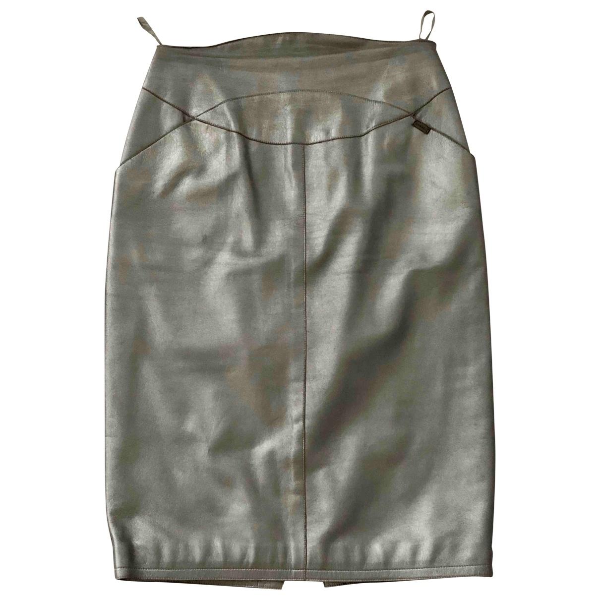 Chanel - Jupe   pour femme en cuir - argente