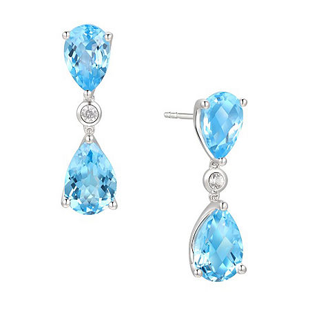 Genuine Blue Topaz Sterling Silver Drop Earrings, One Size , No Color Family