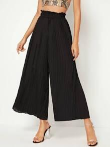 Elastic Waist Pleated Wide Leg Pants