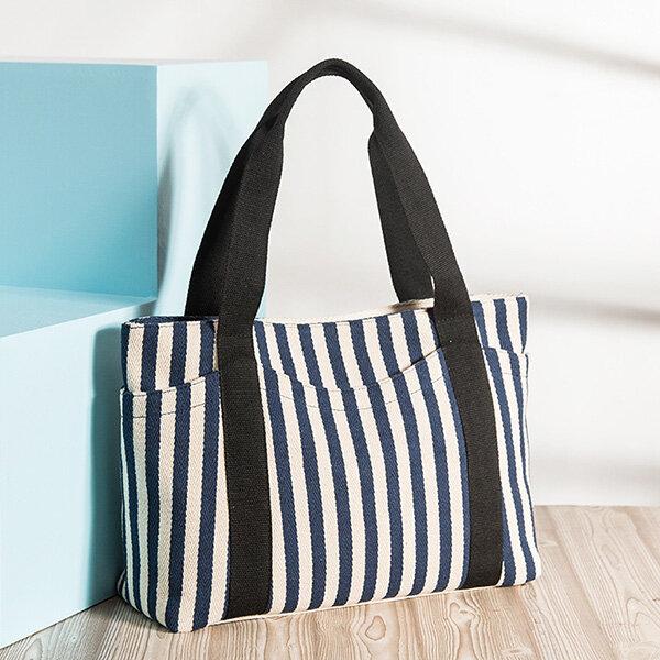 Durable Canvas Casual Striped Handbag Shopping Large Capacity Shoulder Bag For Women
