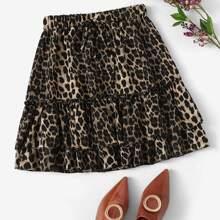 Plus Leopard Tie Front Frill Trim Skirt