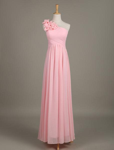 Milanoo Blush Bridesmaid Dress Chiffon One Shoulder Ruffled Zipper A Line Long Wedding Party Dress