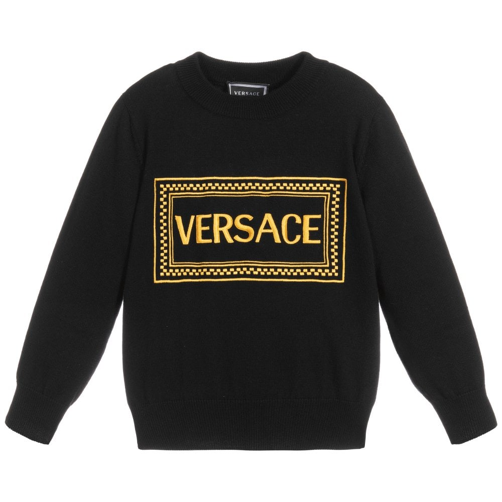 Versace Young Versace Gold Logo Knitted Jumper Colour: BLACK, Size: 10 YEARS