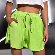 Neon Lime Shorts mit Taillenband