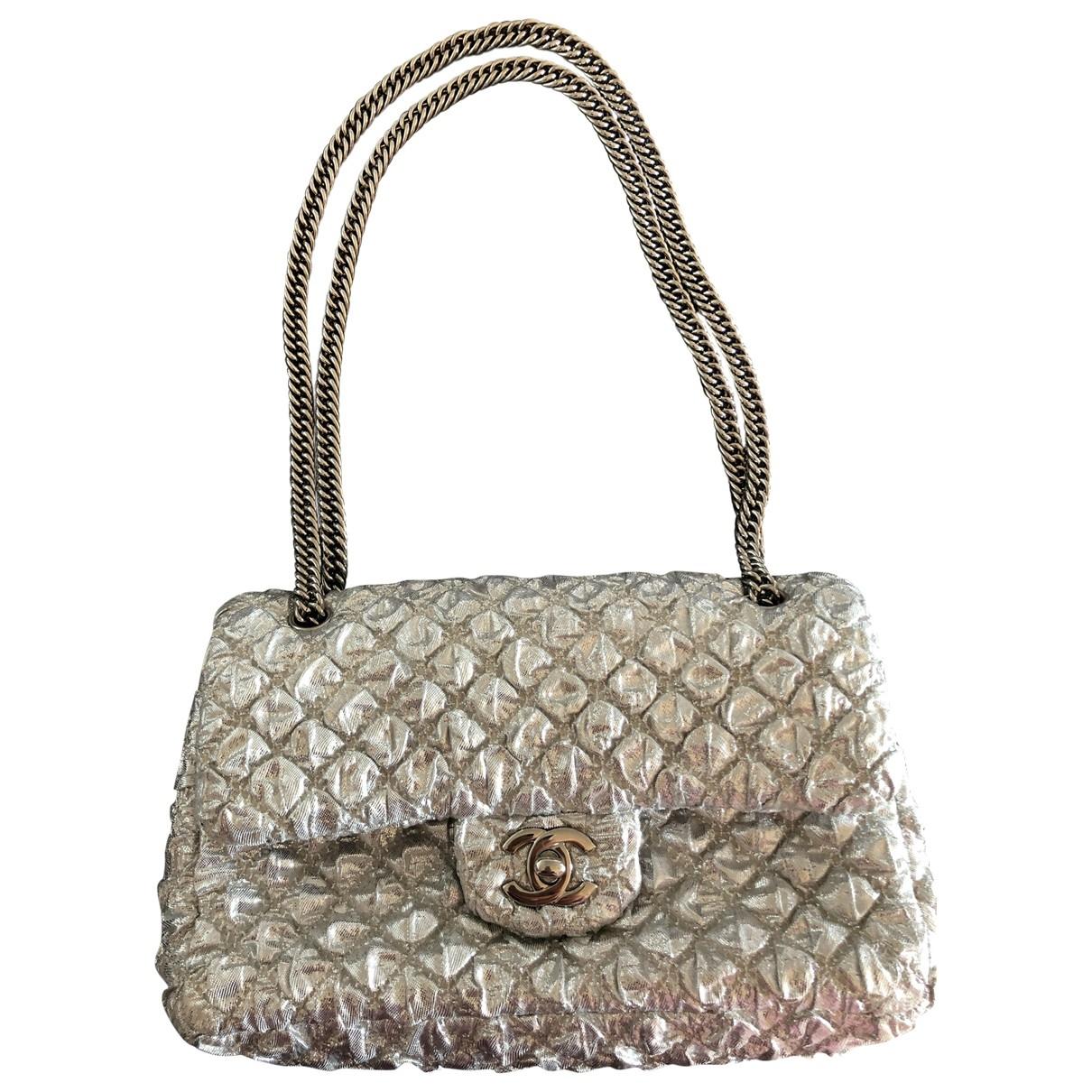Chanel Timeless/Classique Silver Cloth handbag for Women \N